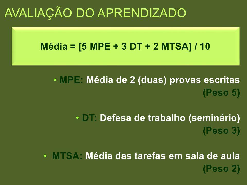 Média = [5 MPE + 3 DT + 2 MTSA] / 10